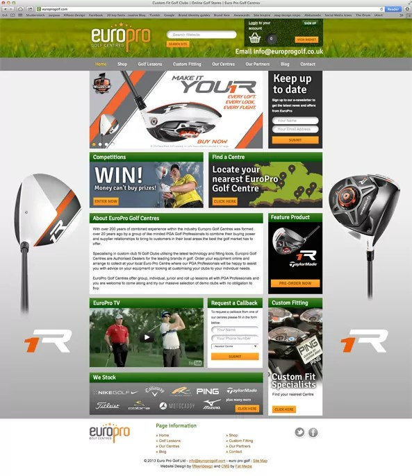 EuroPro Golf Centres and Taylormade website 1