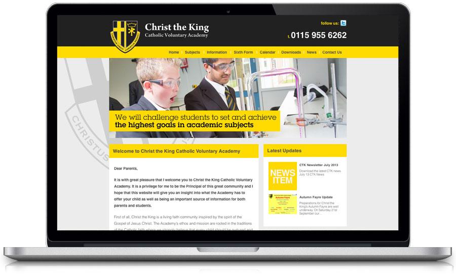 School Prospectus and website Christ The King Web design