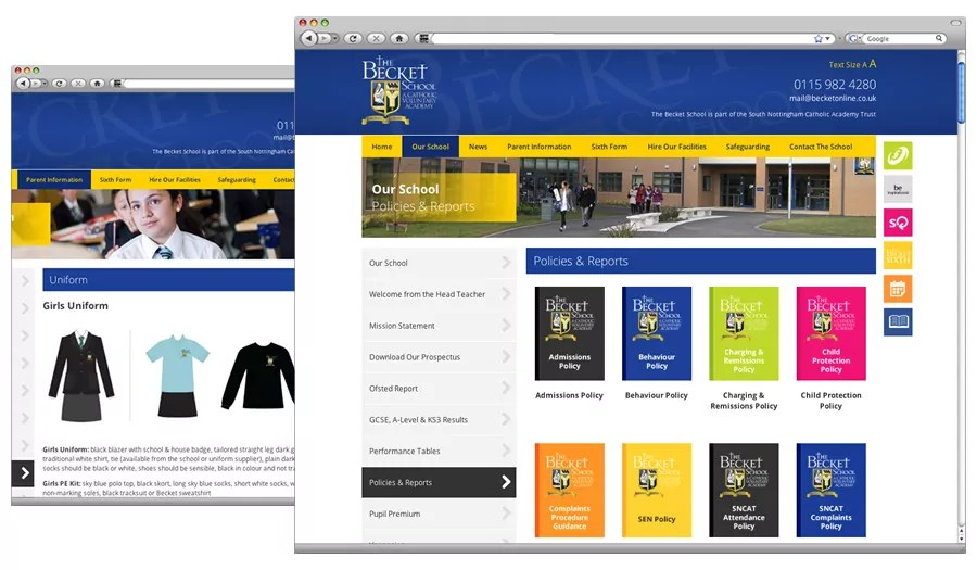 Becket School Website Design