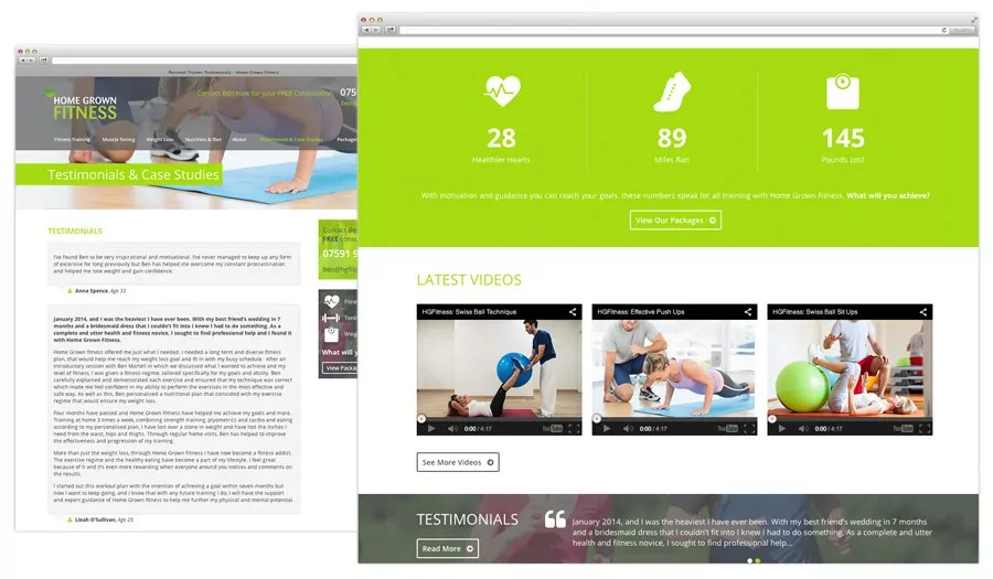Home Grown Fitness Personal Trainer Web Design