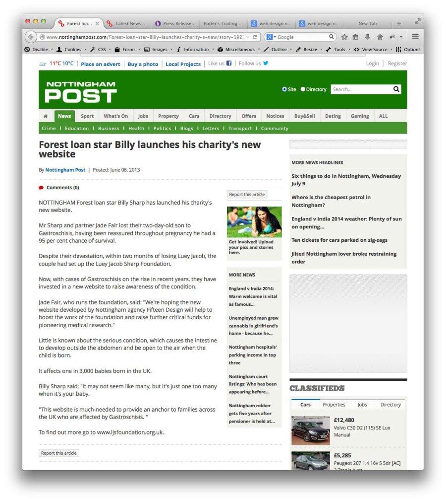 Luey Jacob Sharp Foundation website launch in Nottingham Post