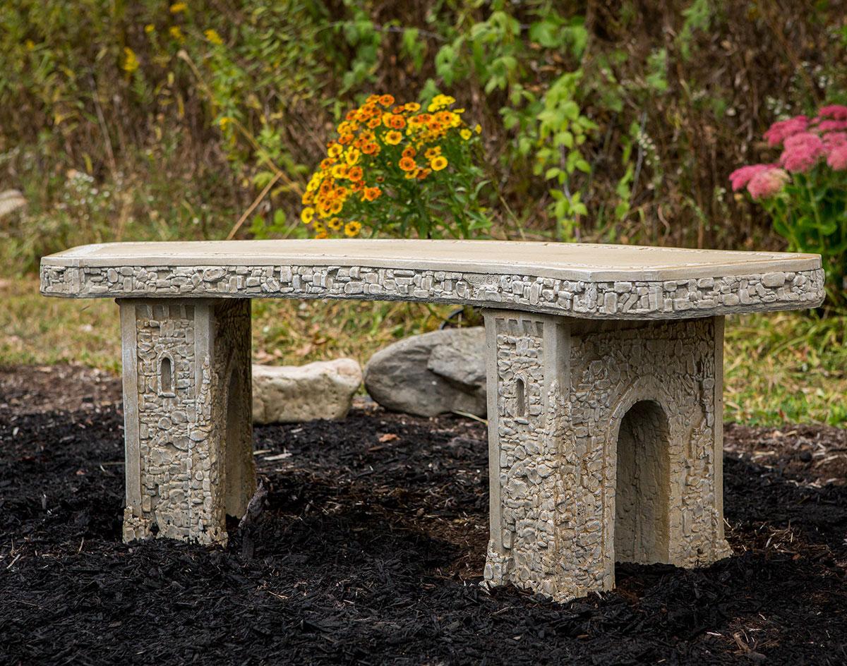 48 Concrete Curved Garden Bench