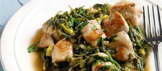 Φρέσκο σπανάκι με χοιρινό