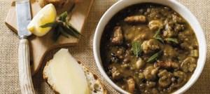 Σούπα με φακές και μανιτάρια