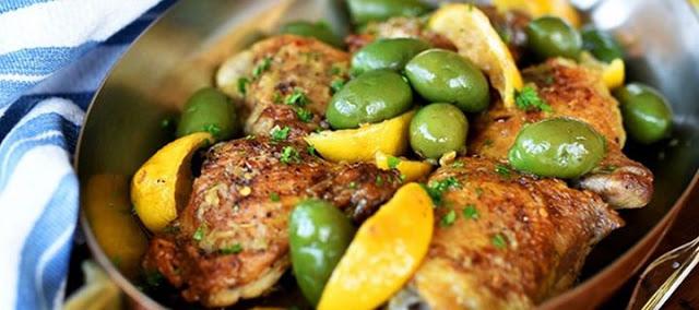 Ψητό κοτόπουλο με ελιές