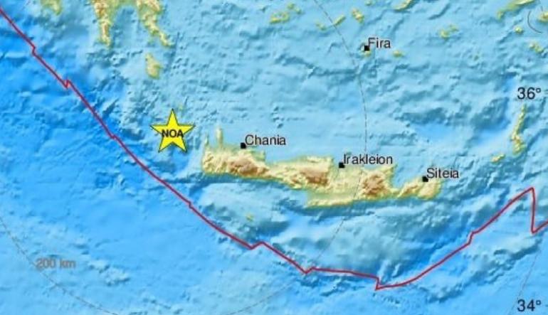 Ισχυρός σεισμός 6,1 Ρίχτερ ανάμεσα σε Κρήτη και Κύθηρα