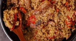 Συνταγή:Ψητό ρύζι με χοιρινή πανσέτα