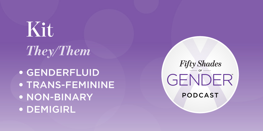 "Decorative graphic with the name ""Kit"", and labels 'genderfluid', 'trans-feminine', 'non-binary' and 'demigirl'"