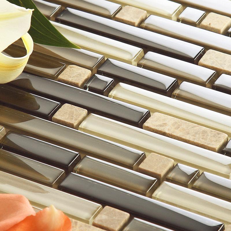 brown glass and stone mosaic kitchen backsplash tiles interlocking patterns bathroom shower accent tile