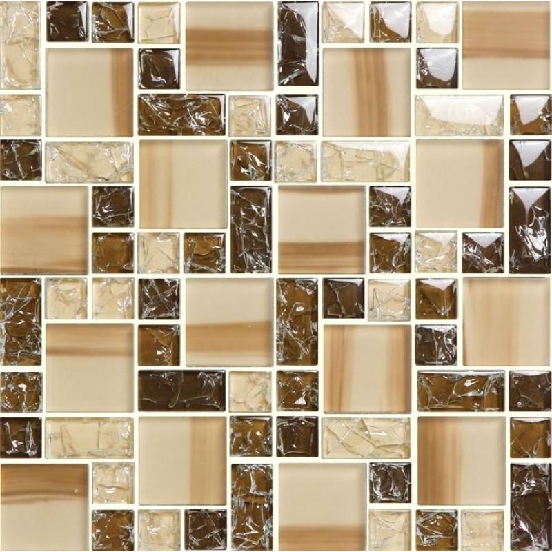 brown glass mosaic bathroom wall tiles glossy crackled crystal kitchen backsplash tile