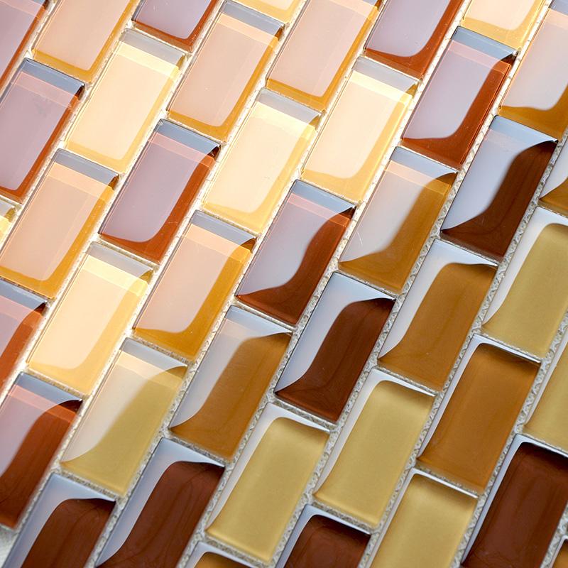 glass subway tile yellow orange crystal backsplash kitchen 1 x 2 brown bathroom wall tiles