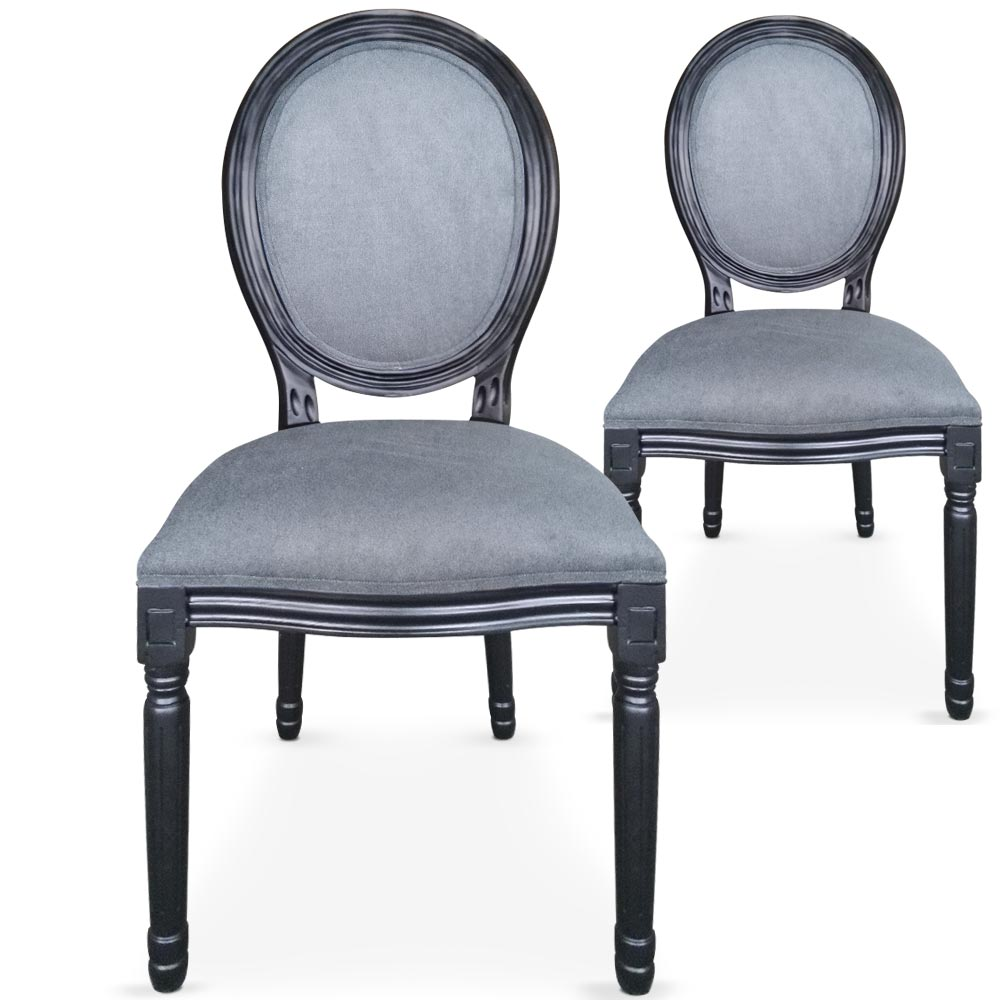 lot de 2 chaises medaillon louis xvi noir