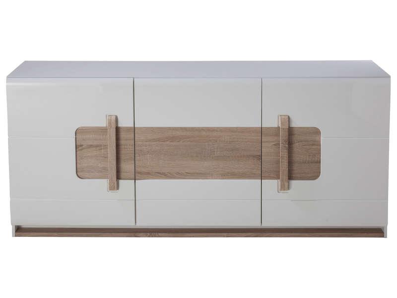 buffet 3 portes levi coloris bois blanc 1