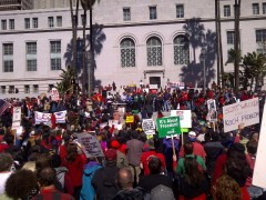 Los Angeles protest in solidarity with Wisconsin workers, 2/26/2011
