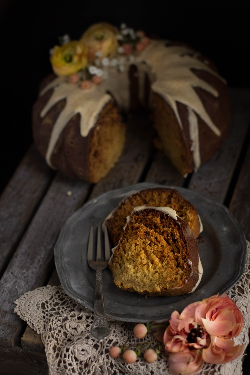 Honey bundt cake with a browned butter glaze