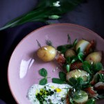 Jersey royals and mackerel salad with a wild garlic sour cream