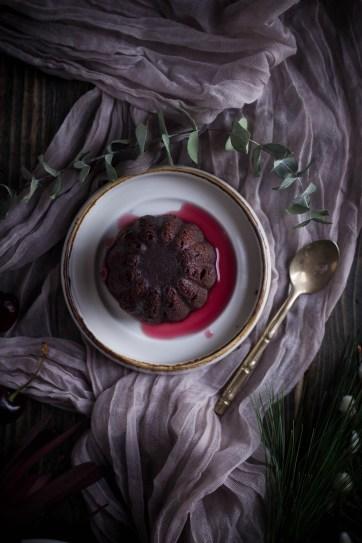 Chocolate cherry puddings