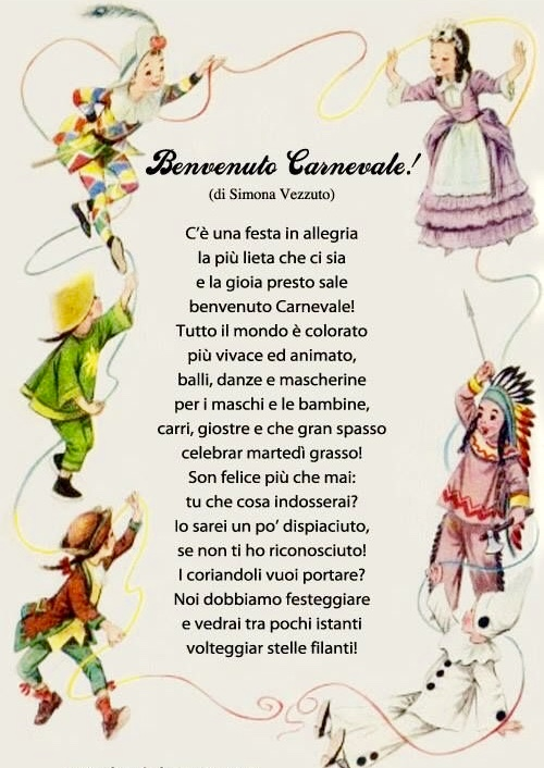 Benvenuto Carnevale Di Simona Vezzuto Filastroccheit