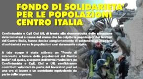 TERREMOTO, FONDO DI SOLIDARIETA' DI CONFINDUSTRIA E CGIL CISL UIL