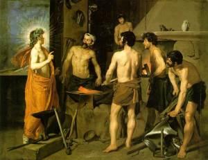 """""""La fragua de Vulcano"""", de Velázquez (1630), del Museo del Prado. La obra representa el momento en el que el dios Vulcano está en su fragua recibiendo la visita del dios Apolo. Este acudía a comunicarle que su esposa, Venus, tenía una relación con Marte."""