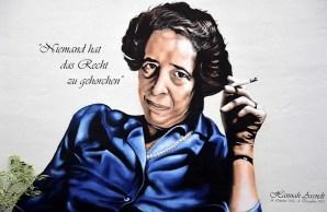 Grafiti en el muro de la casa donde nació la pensadora alemana en Linden-Limmer, Hannover, realizado por Patrik Wolters (BeneR1) con Kevin Lasner. Foto: Bern Schwabe.