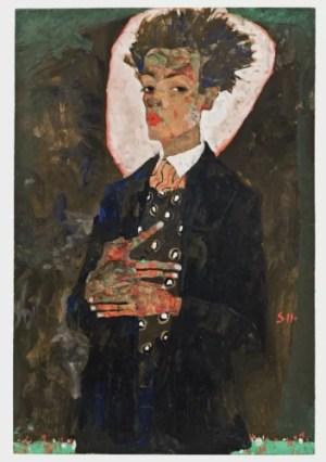 Autorretrato con chaleco, de pie (1911) es la imagen de la exposición de la Fondation Cartier. Foto: Cortesía de Ernst Ploil (Viena).