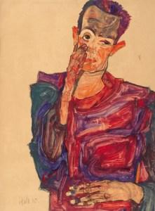Autorretrato con la mano en la mejilla (1910), de Schiele. En la colección del Albertina Museum, de Viena.