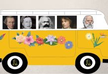 Los grandes filósofos rodando a pie de calle. De izda. a dcha., Kant, Simone de Beauvoir, Marx, Mary Wollstonecraft y Sócrates, conduciendo a todos.