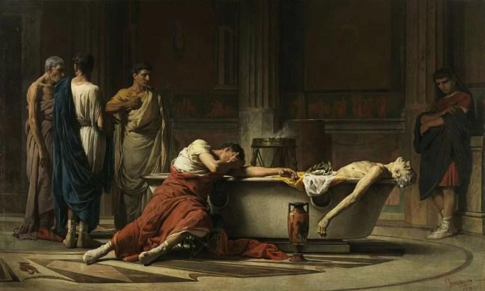 La muerte de Séneca, de Manuel Domínguez Sánchez (el título completo dado por el pintor fue: Séneca, después de abrirse las venas, se mete en un baño y sus amigos, poseídos de dolor, juran odio a Nerón que decretó la muerte de su maestro), de 1871. Museo del Prado (Madrid, España).
