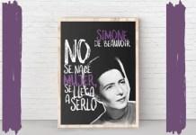 Simone de Beauvoir fue una de las intelectuales más escuchadas del siglo XX francés. Montaje realizado desde la lámina de www.filosofers.com