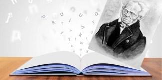 «La labor de Pilar López Santa María en el terreno filosófico y traductológico ha sido tan titánico como irremplazable. Gracias a ella, varias generaciones de estudiantes e investigadores han podido (y podrán) acercarse con seriedad y confianza a la obra de quien ella misma consideró un maestro de vida, Arthur Schopenhauer, a través de las múltiples y muy certeras traducciones que realizó de numerosas de sus obras», escribe Carlos Javier González Serrano. Diseño hecho con imagen de Mediamodifier en Pixabay y foto de dibujo de Schopenhauer a lápiz. Retrato original: Arthur Schopenhauer by J Schäfer, 1859. Álvaro Marqués Hijazo (derivative) bajo licencia CC BY-SA 4.0 (Wikimedia Commons).