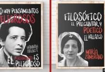 Diseño hecho a partir de dos láminas de Hannah Arendt y María Zambrano creadas por Filosofers. Puedes encontrarlas en filosofers.com