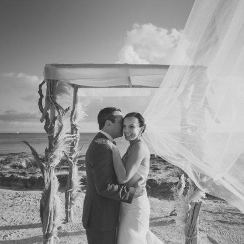bride and groom at casa marina beach in key west florida