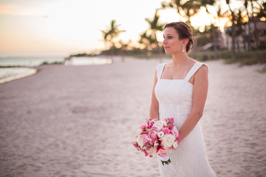 bride at smathers beach in key west, florida