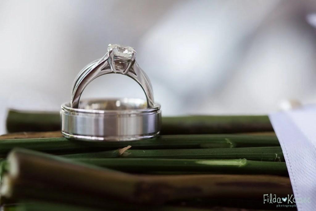 wedding rings detail shot