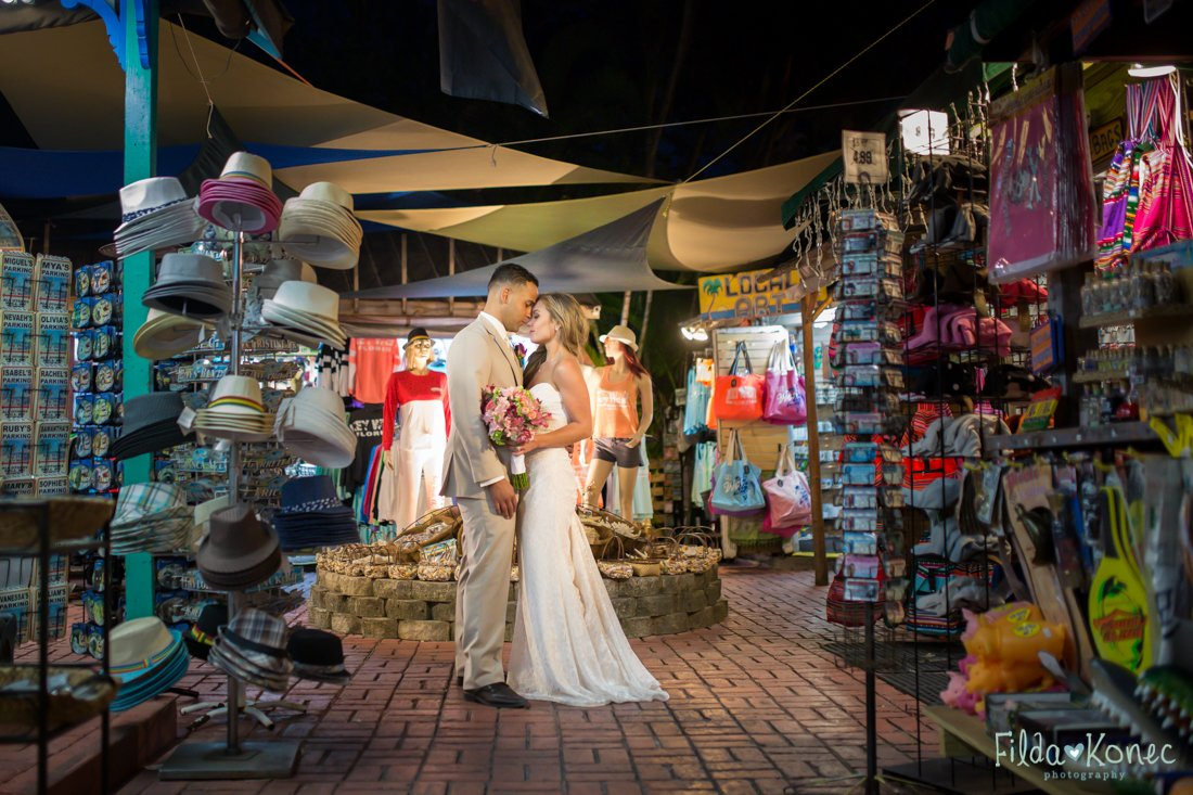 night photo of couple at duval street store