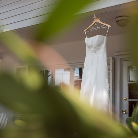 wedding dress hanging outside the house