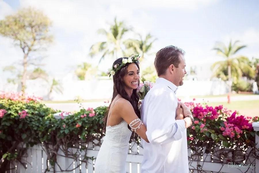 bride hugs her groom before their ceremony