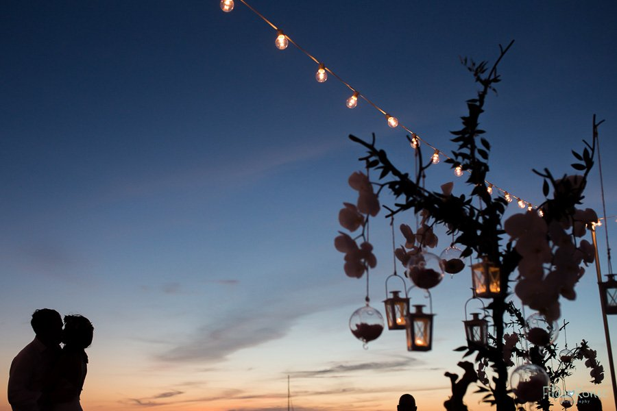 beautiful sunset with silhouettes and key west beach wedding