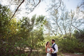 wedding photography at fort zachary taylor state park in key west florida with bride and groom