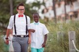 groom and her son walk the isle