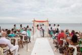 wide shot of beach wedding ceremony in key west florida