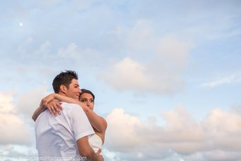 wedding portrait with sky in the background
