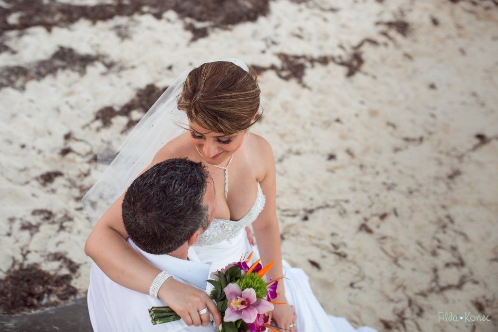 bride hugs her groom at key west beach