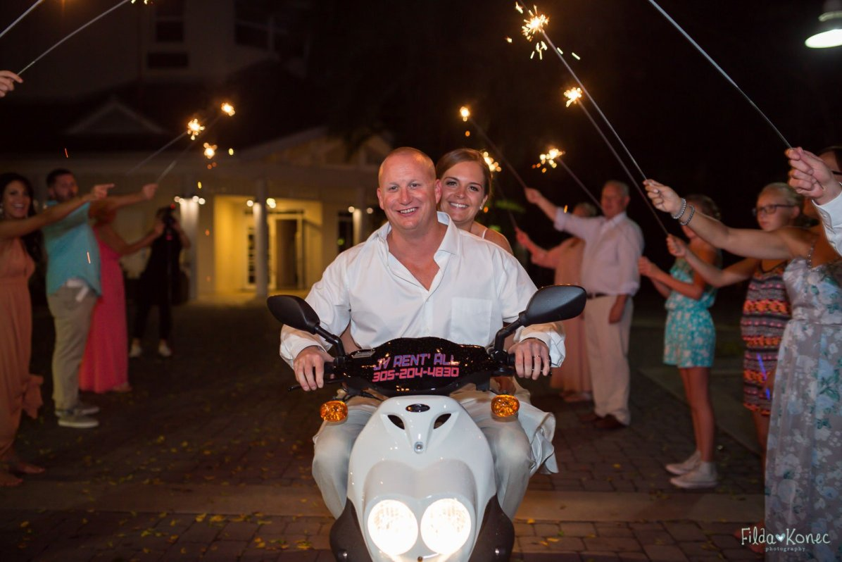 wedding reception exit on scooter near hyatt in key west