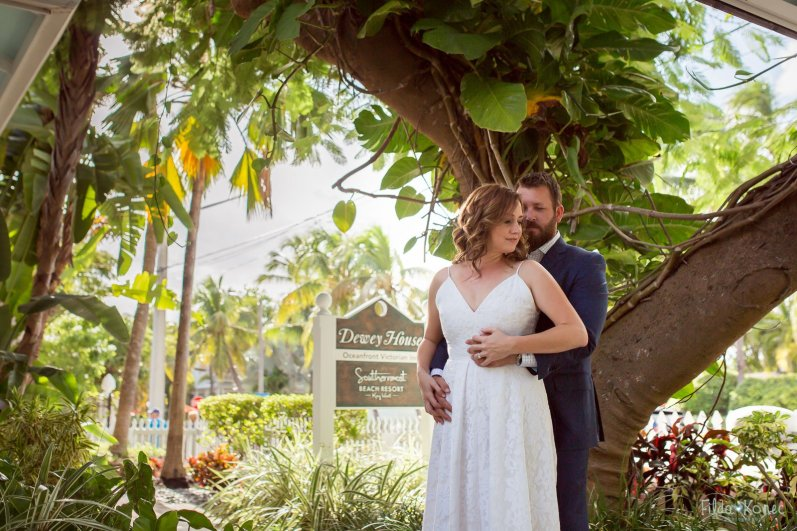 bride and groom at southernmost beach hotel wedding