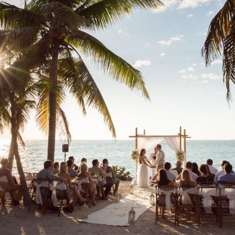 wedding ceremony at Fort Zachary Beach
