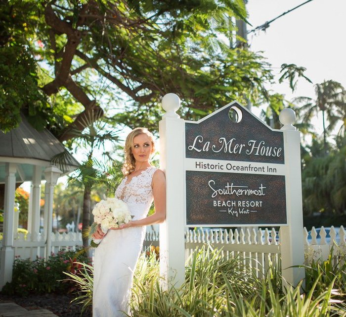bridal photo at southernmost beach hotel in key west florida