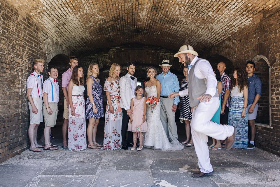 formal photograph at fort jefferson wedding