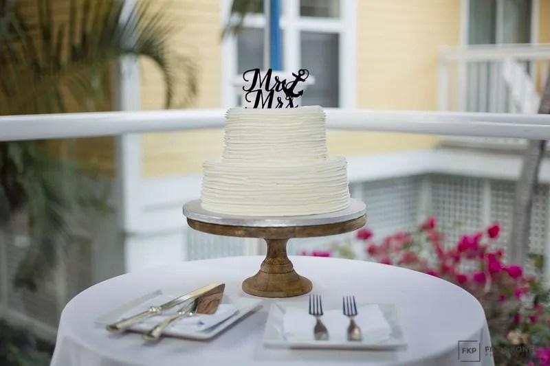 wedding cake at key west wedding reception